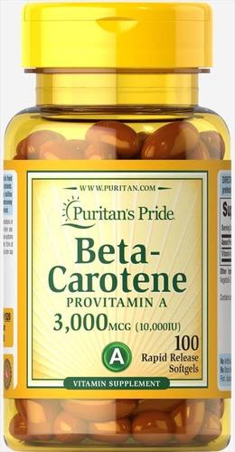 betacaroteno vitamina a para piel y visión 100 cápsulas usa