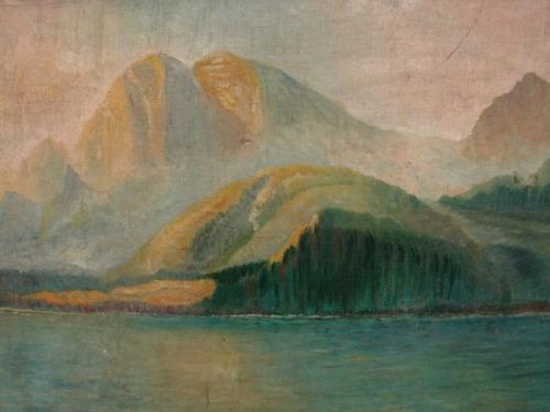 b´etoile / paisaje montaña lago / oleo / 50 x 60 # 1666