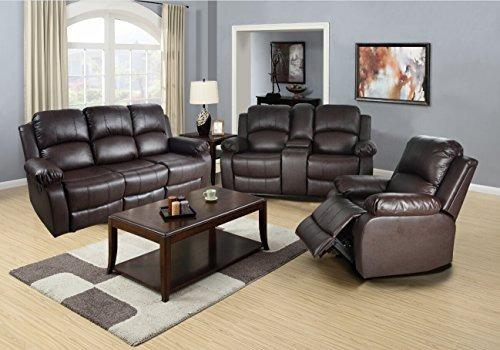 beverly fine muebles gs2890bn3pc 3 pieza reclinables piel re