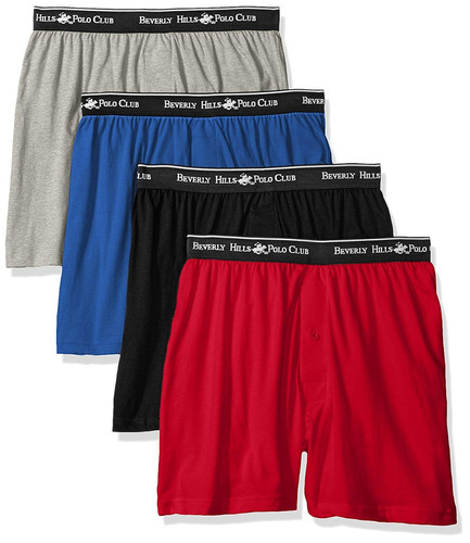 beverly hills polo club men s 4 pack knit boxer...