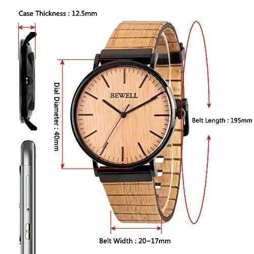 bewell reloj de pulsera de cuarzo analogico para hombre o mu