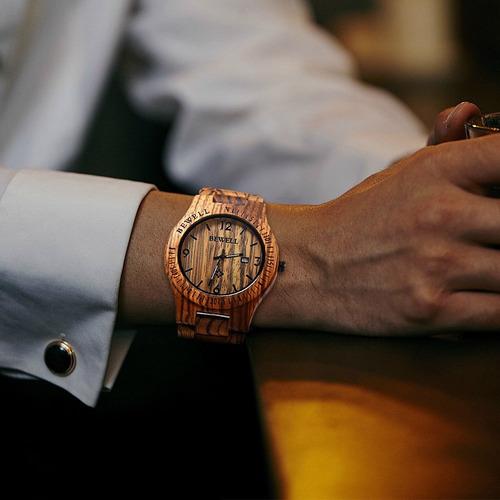 bewell w086b reloj de pulsera de madera analógico de cuarzo