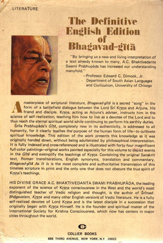 bhagavad-gita as it is original 1972 1st edition collectible