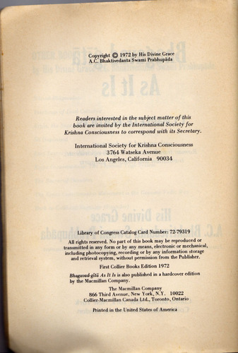 bhagavad-gita as it is original 1972 1st edition collectible