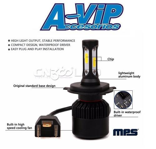 bi led cree cob moto 8000 lumens h4 alta y baja 36w p/unidad