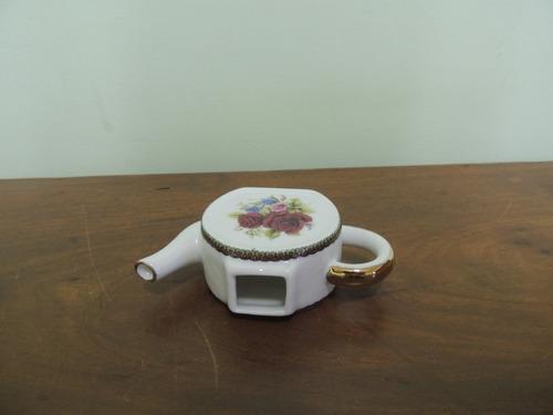 bibelot enfeite chaleira porcelana floreada - linda