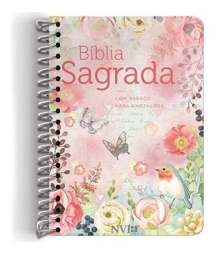 bíblia anote espiral flores virtuosa nvi lt normal anotações