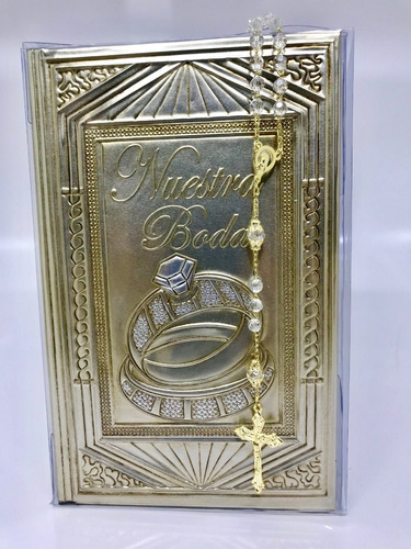 biblia boda repujado oro con rosarios cristal swarovski