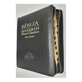 Bíblia Com Hinário Novo Cântico Letra Gigante Zíper Preta