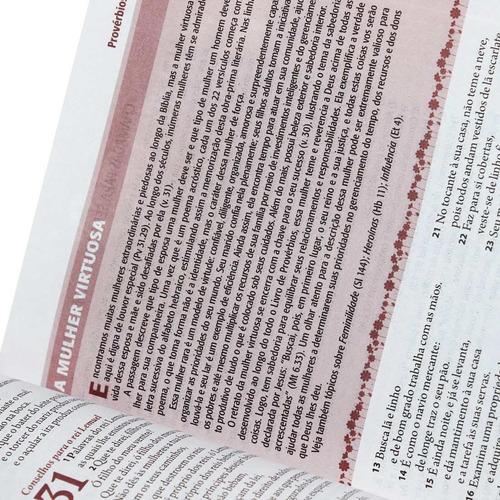 bíblia de estudo da mulher grande tulipa 17x23,5 ra + capa