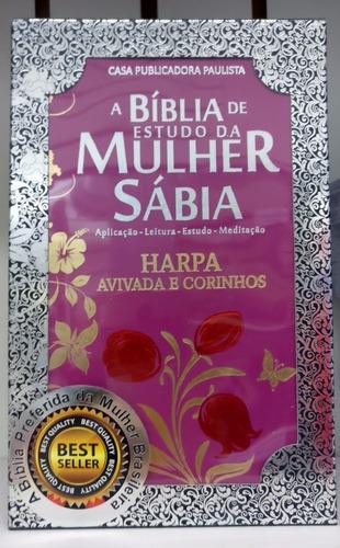 bíblia de estudo da mulher sábia letra grande harpa + caixa