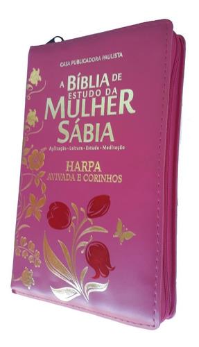 bíblia de estudo da mulher sábia letra grande harpa e zíper