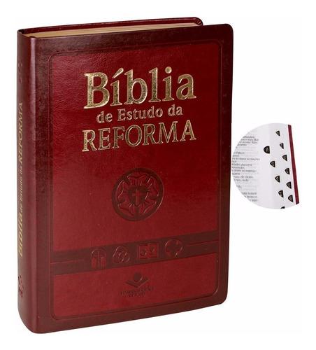 bíblia de estudo da reforma com índice vinho luxo original