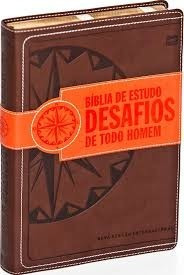 bíblia de estudo desafios de todo homem - capa luxo marrom