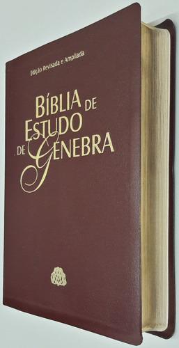 bíblia de estudo genebra - couro sintético - vinho nobre