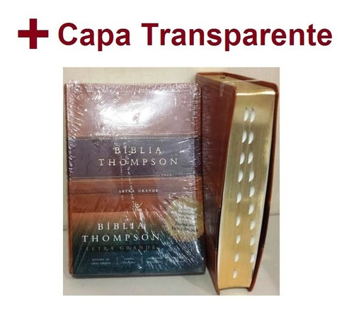 bíblia de estudo thompson grande marrom dourada +indice+capa