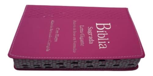 bíblia do casal letra gigante luxo c/ harpa romantic