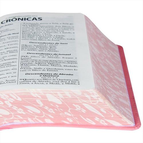 bíblia evangélica feminina letra grande borda florida rosa