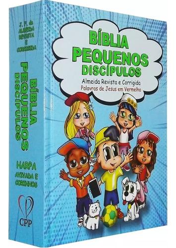 biblia infantil pequenos discípulos com harpa meninos