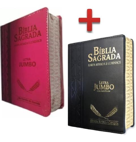 biblia jumbo letra extra gigante com harpa 2 unidades