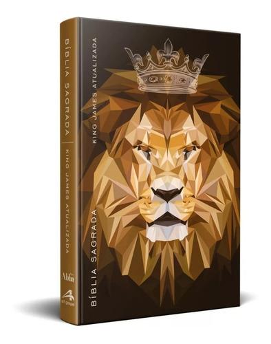 bíblia king james atualizada kja slim leão marrom coroa