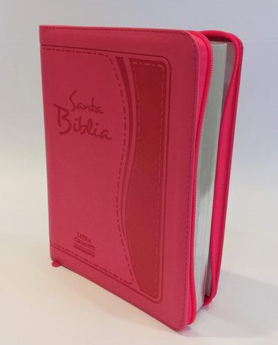 biblia letra gigante con cierre rosa reina valera 1960