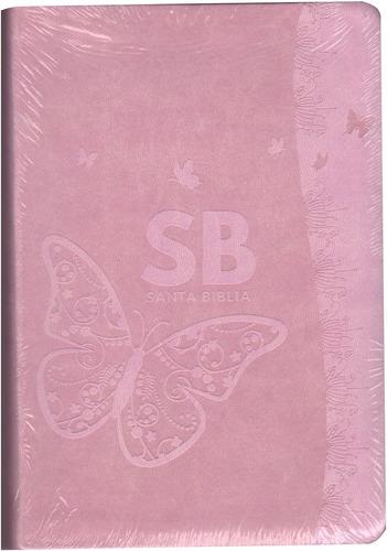 biblia letra grande manual juvenil rosa mariposa rvr60