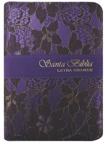 biblia mediana letra grande lila con cierre reina valera 60