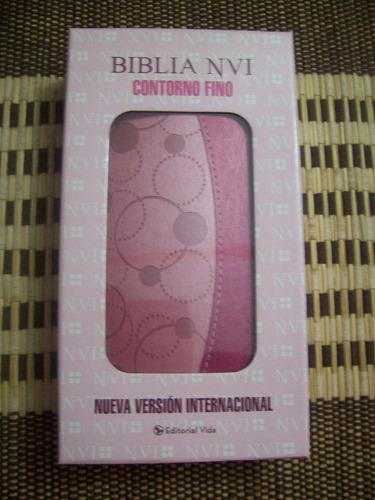 biblia nvi contorno fino italiana dos tonos rosa
