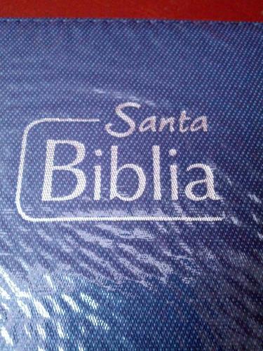 biblia reina valera 1960 con forro azul papel económico