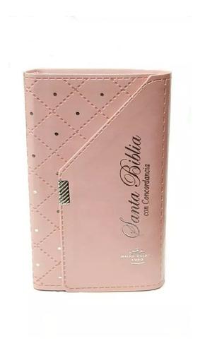 biblia rosa estuche tipo cartera elegante reina valera 1960