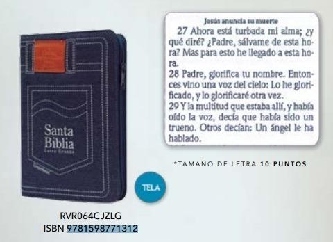 Biblia Rvr60, Mezclilla Azul, Con Cierre, Concordancia