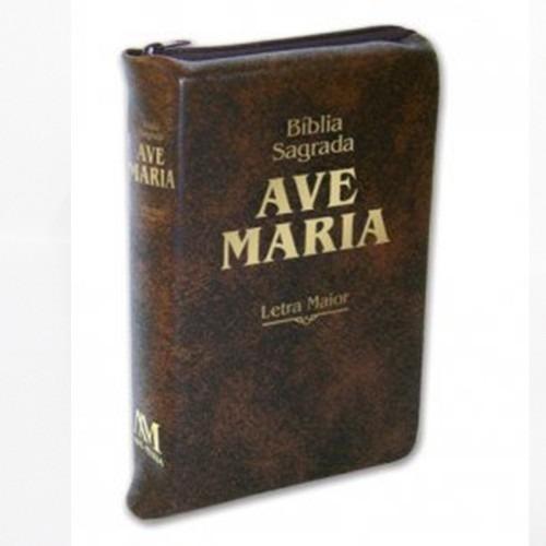 bíblia sagrada ave maria marrom letra maior zíper grande