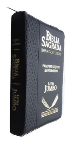 bíblia sagrada com harpa corrigida e índice luxo letra jumbo