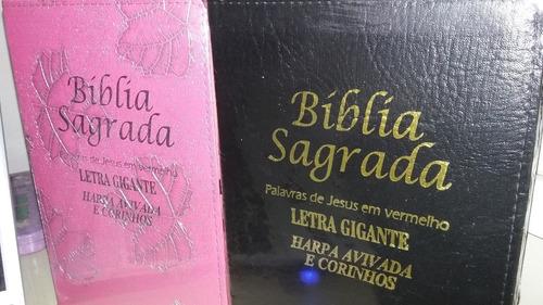 bíblia sagrada com harpa e corinhos letra gigante zíper rc