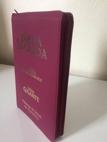 biblia sagrada com harpa e ziper letra gigante vinho pink