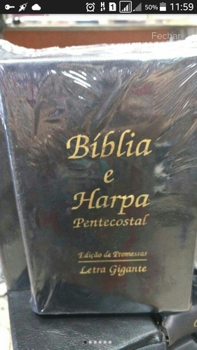 biblia sagrada com harpa letra gigante luxo preta promocao