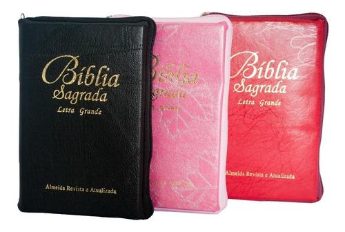 bíblia sagrada com letra grande - sbb c/ zíper + brinde