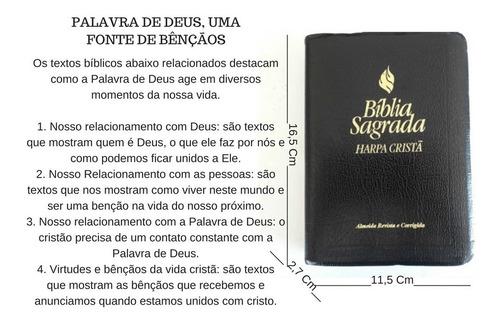 bíblia sagrada harpa cristã preta pequena almeida revista e