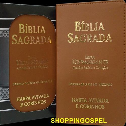 bíblia sagrada harpa letra ultragigante marrom pal jesus v