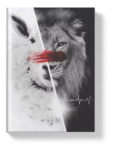 bíblia sagrada leão cordeiro branca naa letra  capa dura