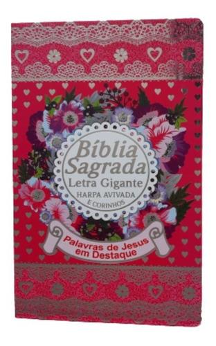 bíblia sagrada letra gigante edição luxo com harpa