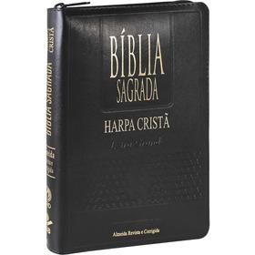 Bíblia Sagrada Letra Grande Harpa Zíper Indice Preta Ou Pink