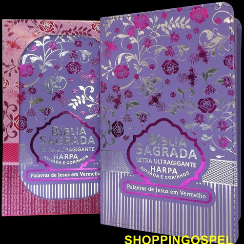 bíblia sagrada letra ultra gigante capa luxo lilás