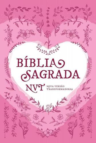 biblia sagrada nvt coracao - rosa - mundo cristao