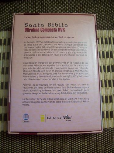 biblia ultrafina compacta rvr italiana a dos tonos frambuesa