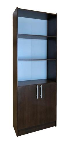 biblioteca 5 estantes 2 puertas 60x30x180cm wengue o blanca*