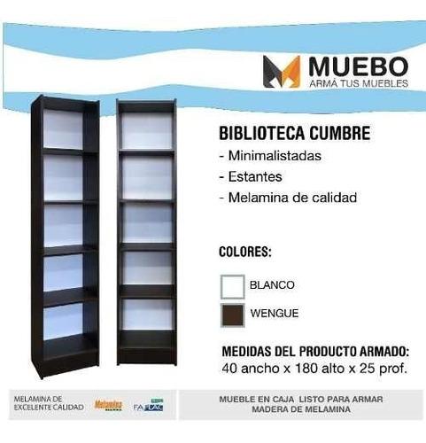 biblioteca 5 estantes melamina 40x25x180 cm librero colores*