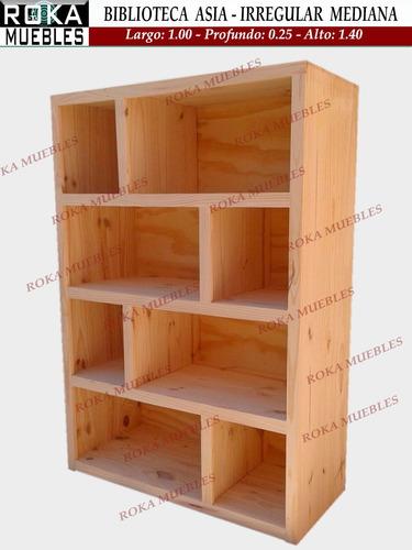 biblioteca asia mediana irregular pino 1.00x0.25x1.40