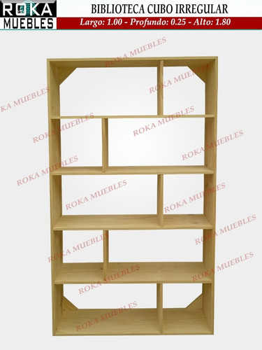 biblioteca cubo irregular pino 0.80x0.25x1.80 roka